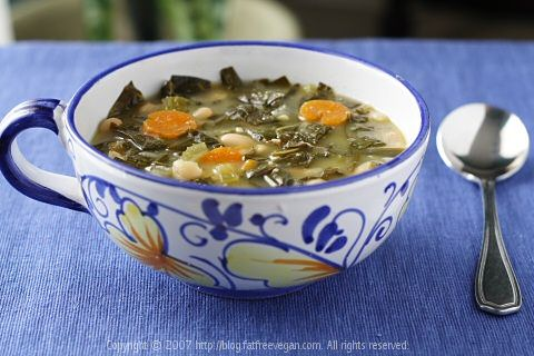 slightly spicy Collard Greens and White Bean Soup - changed beans (used what I had on hands), but collard greens taste superb!