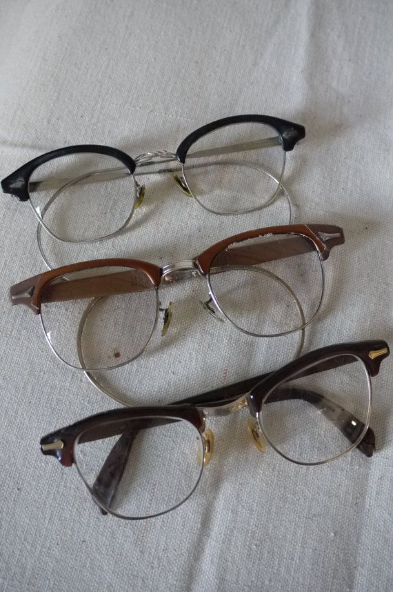 Vintage Eye Glasses Set of 3 1960s Geek Glasses by mrspsbrain, $17.00