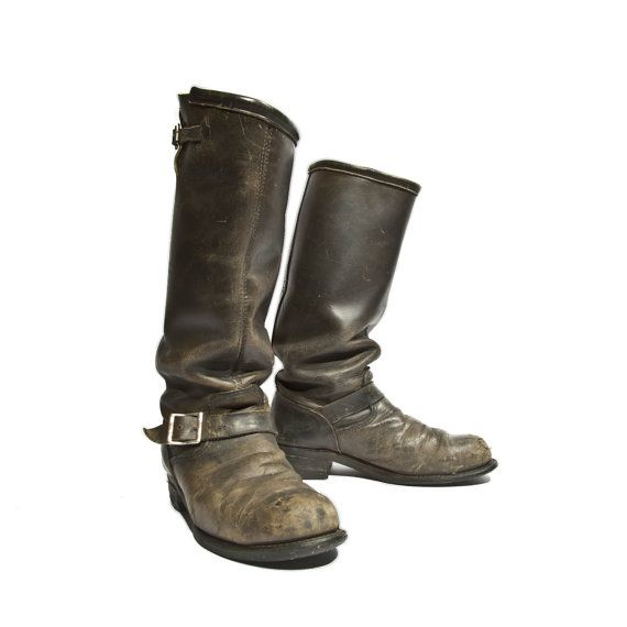 Vintage Engineer Boots Tall Distressed Biker Boots Black Leather Steel Toed Dated 1989 for Men's Size 9 E