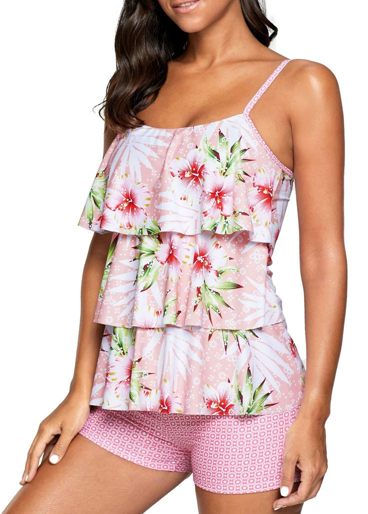 Layered Printed Spaghetti Strap Pink Tankini Set on sale only US$31.00 now, buy cheap Layered Printed Spaghetti Strap Pink Tankini Set at liligal.com