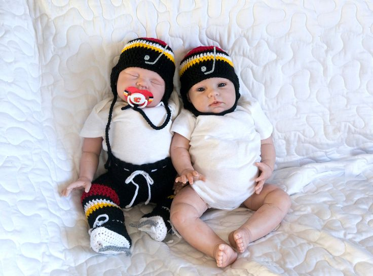BABY HOCKEY HAT, Calgary Flames pacifier not included, Crochet Baby Hockey, Knit Baby Hockey Helmet, Black Red Gold, Knit Baby Hockey Hat by Grandmabilt on Etsy