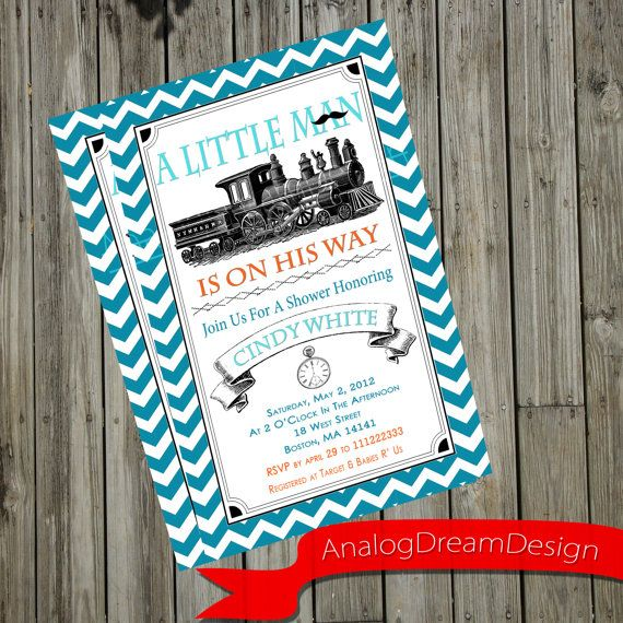 Printable A Little Man Baby Shower Invitation With a Vintage Train