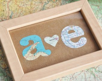 Gift for Him First Anniversary Couples Anniversary Gift Map Initials Framed
