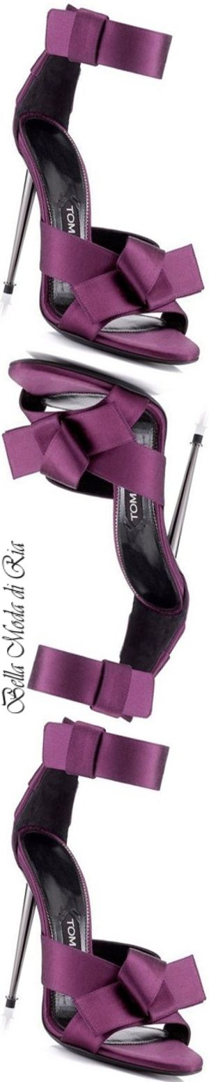 Tom Ford Bow Satin Ankle-Strap Sandal in Purple
