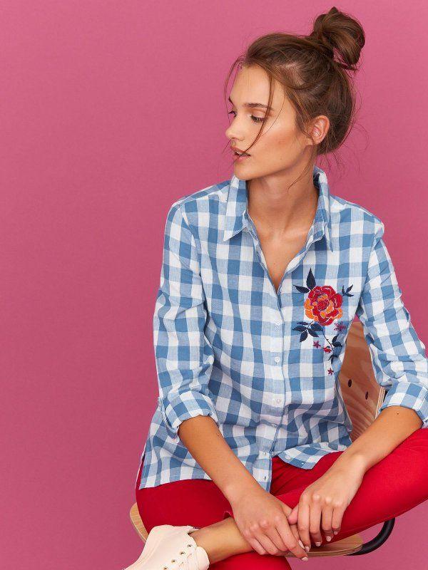 J2017 koszula długi rękaw damska w kratę, z aplikacją niebieska - SKL2364 TOP SECRET
