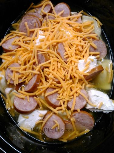Crockpot Pierogi Casserole with Kielbasa - Easy Meals