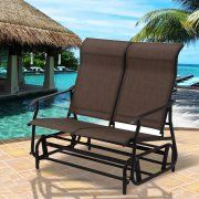 Costway 2 Person Patio Glider Rocking Bench Double Chair Loveseat Armchair Tan
