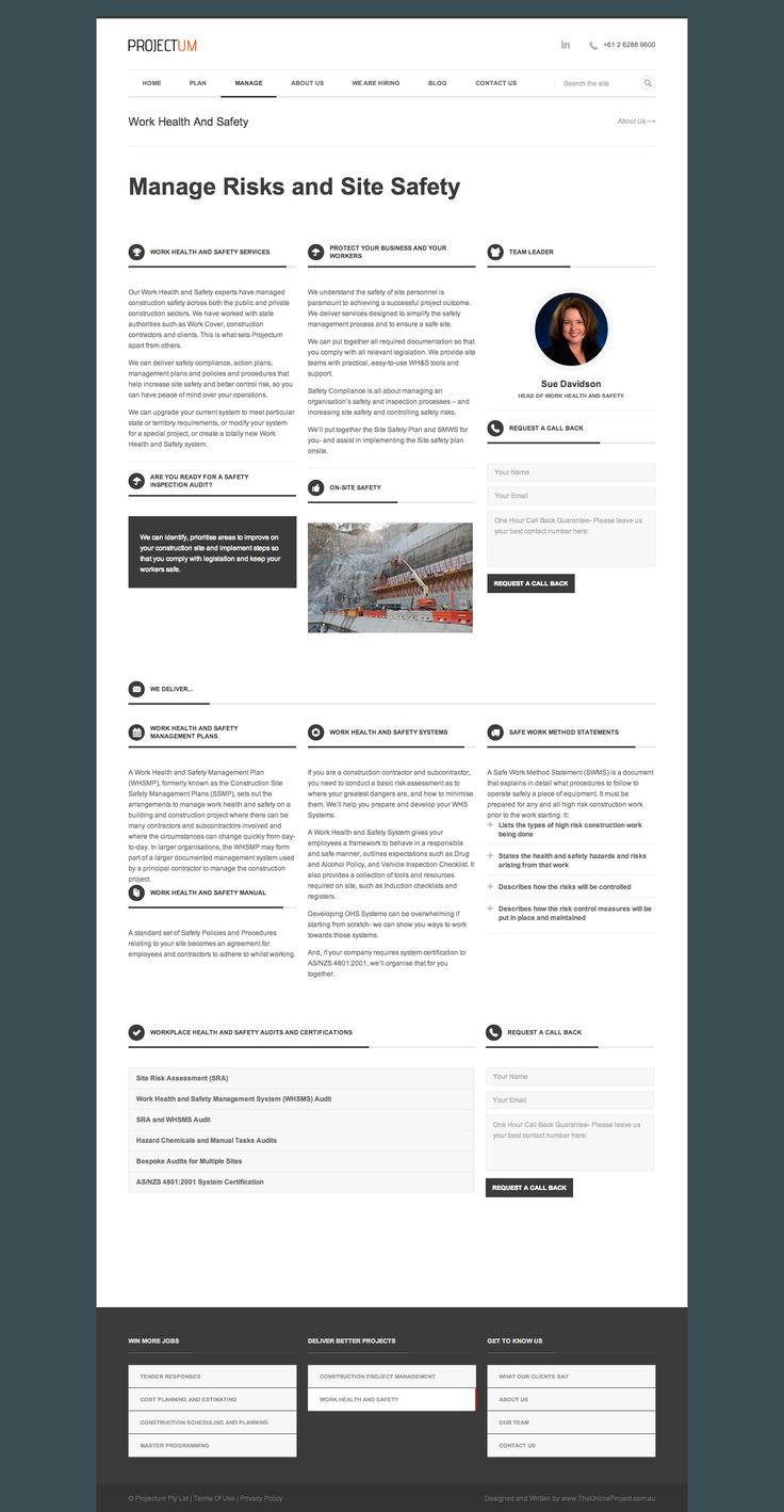 Work Health and Safety - Projectum Civil Engineering Consultancy - Manage Risks and Site Safety - Develop trust: Photo of team leader, benefits, services, what we deliver, the tools, the capabilities, and the contact form…