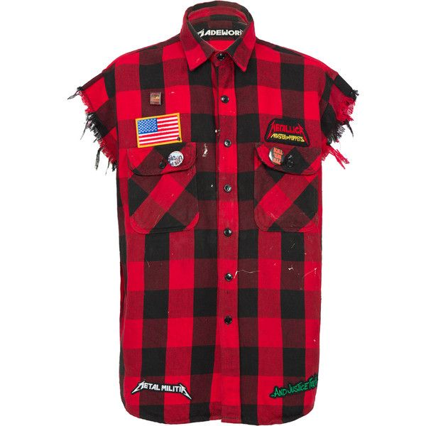 Madeworn Metallica Cut Sleeves Flannel Shirt ($760) ❤ liked on Polyvore featuring men's fashion, men's clothing, men's shirts, men's casual shirts, red, mens flannel shirts, mens red shirt, mens red long sleeve shirt and mens shirts