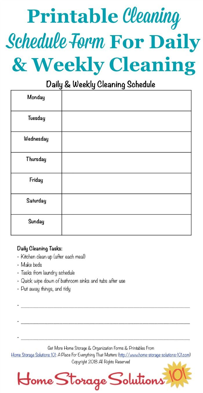 Here Is A Free Printable Cleaning Schedule Form That You Can Use To Fill Out Your Daily And Weekly Tasks For Home