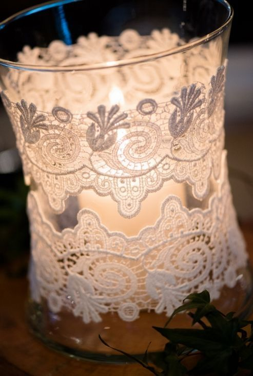 Rustic Wedding Centerpiece Ideas - Simple yet beautiful lace wrapped candle holder - can use battery candles/votives.