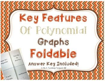 This four flap foldable reviews key features of polynomial graphs. Key features include: Degree, X and Y-Intercepts, Local Minimum and Maximum, and End Behavior. Students find all key features for one example and then graph the polynomial using the key features in the end.