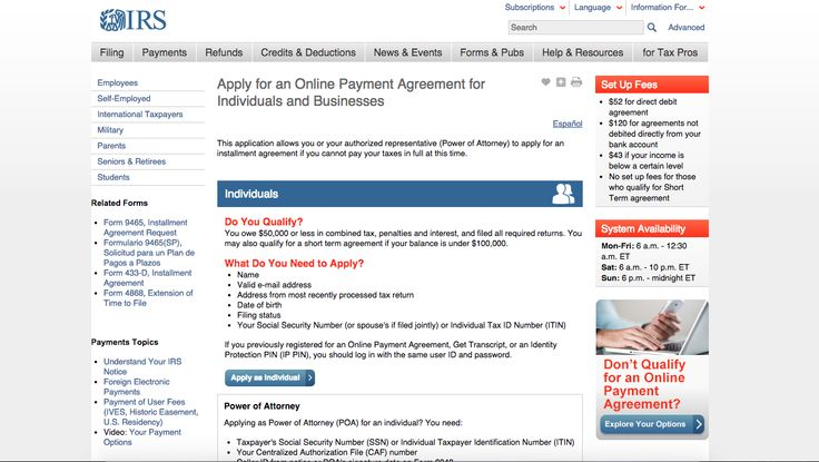 IRS | Apply for an Online Payment Agreement for Individuals and Businesses