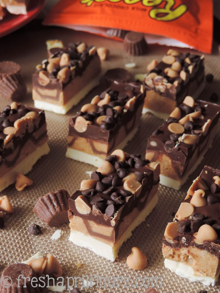 Triple Chocolate Peanut Butter Bites: a slightly crunchy peanut butter cup layer, sandwiched between dark and white chocolate layers, and to...