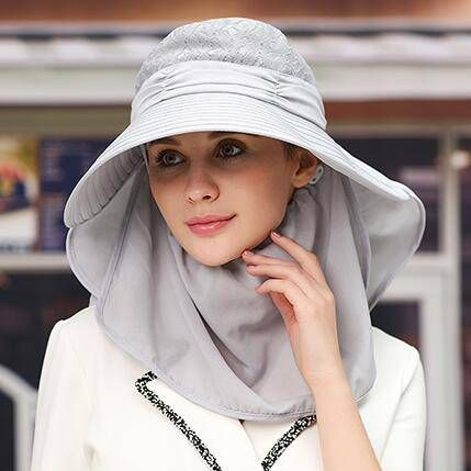 Lace wide brim sun hat with neck protection for women outdoor wear