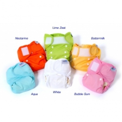 Bambinex Wraps fit from birth right through to potty training.     At last a wrap that will fit all ages.    This neat wrap is available in great funky colours as well as white and simply by poppering down the sizing can be reduced or increased as necessary.    This wrap will fit most nappies as well as the Bambinex brand , is gently elasticated to prevent leaks and is fastened easily at the waist for a quick nappy change.