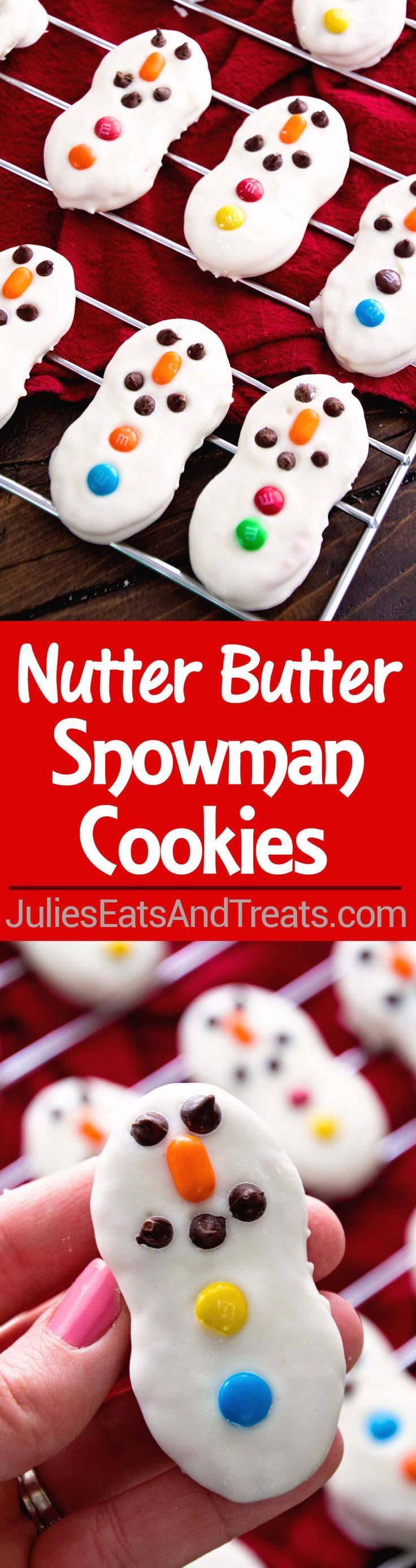 Snowman Cookies ~ Nutter Butter Cookies Dressed up as Cute Little Snowman for your Holiday Cookies!   via @julieseats