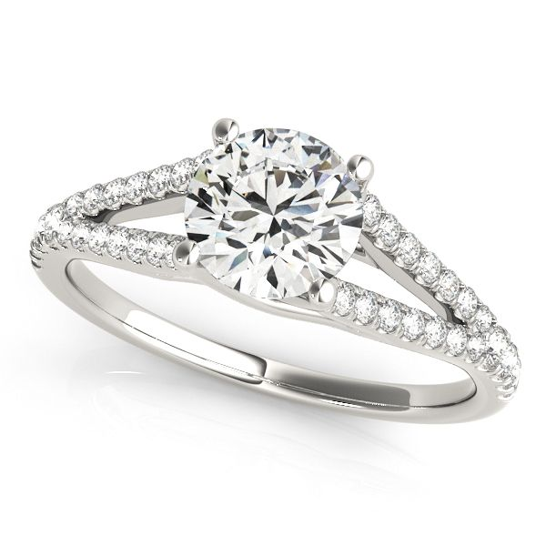 ''Vanessa'' Modernized Split Shank Side Stone Diamond Engagement Ring Chic diamond engagement ring split shank round side stones trellis setting.