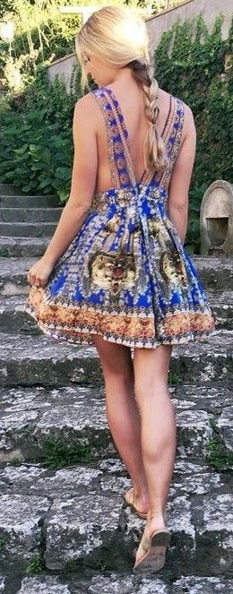 #summer #lovely #fashion |  Printed Backless Summer Dress