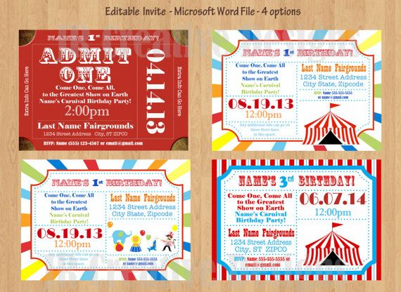The Best Circus Birthday Invitations Ideas On Pinterest - Birthday invitation name