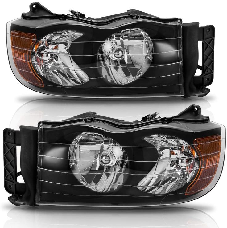 Headlight Assembly For 2002 2005 Dodge Ram Pickup Truck Headlamps Replacement Black Housing Amber Reflector Cle Dodge Ram Pickup Dodge Ram Cool Car Accessories