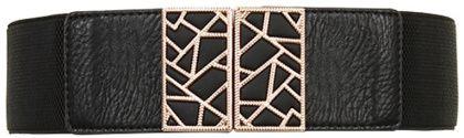 ceinture large elastique noir à boucle en metal doré style art deco, molly bracken