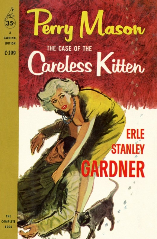 "Cats in Art and Illustration: Erle Stanley Gardner's Perry Mason solves ""The Case of the Careless Kitten,"" Cardinal Paperback edition."