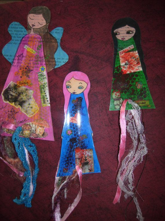 Paper Dolls Laminated Bookmarks with ribbons set of 3 by eltsamp, $15.00