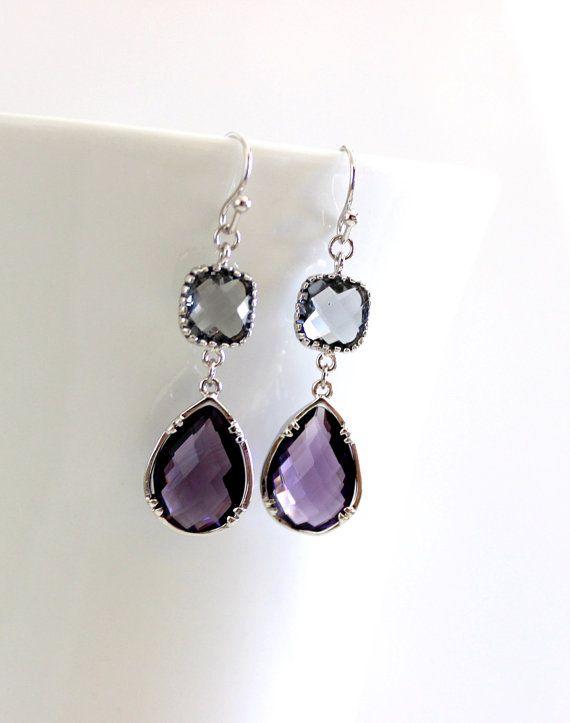 Purple earrings, Gray drop Earrings, Bridesmaid Gift Wedding Earrings Bridal Jewelry ,Puple DanlgeEarrings, Gray Earrings, Gift