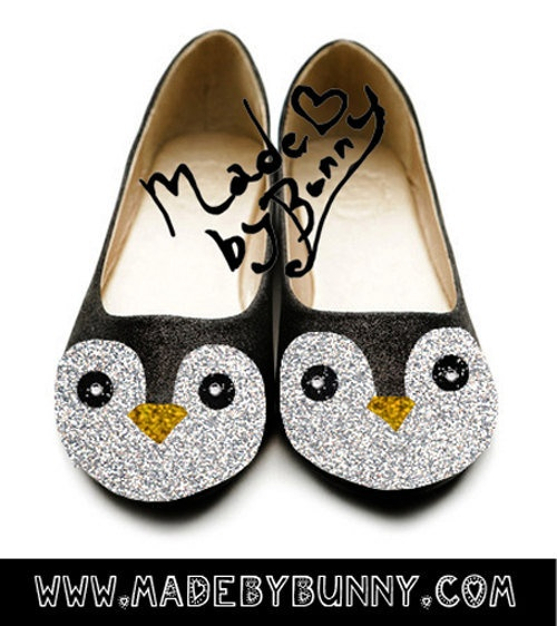 Adorable Penguin flats made with Glitter & Rhinestones