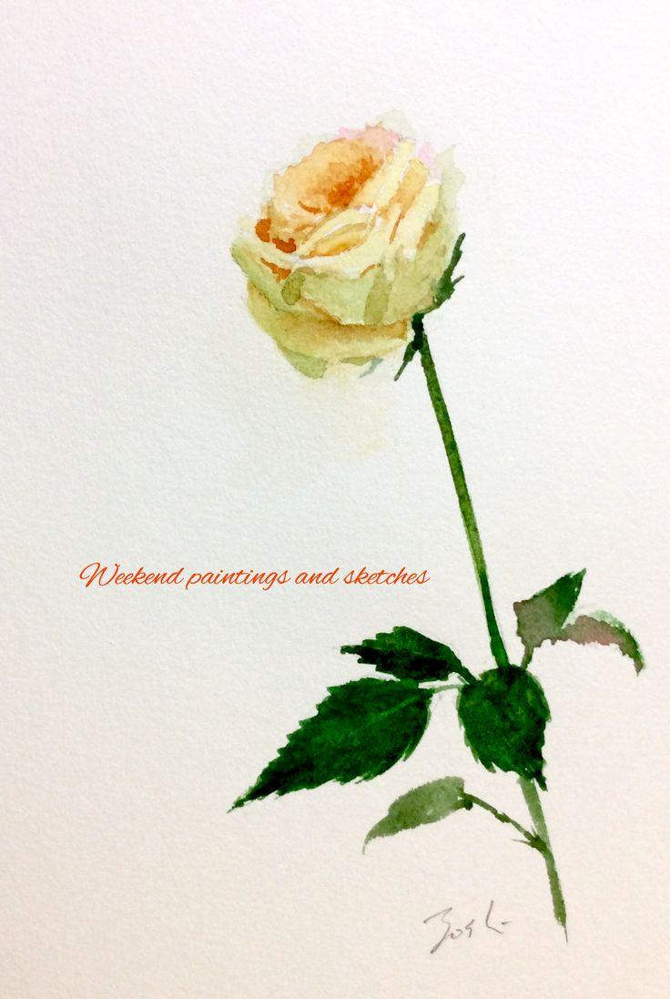 ダイアモンド・ローズ 3 透明水彩 VIFART 227 x 158mm  A diamond rose 3 Watercolours VIFART 227 x 158mm