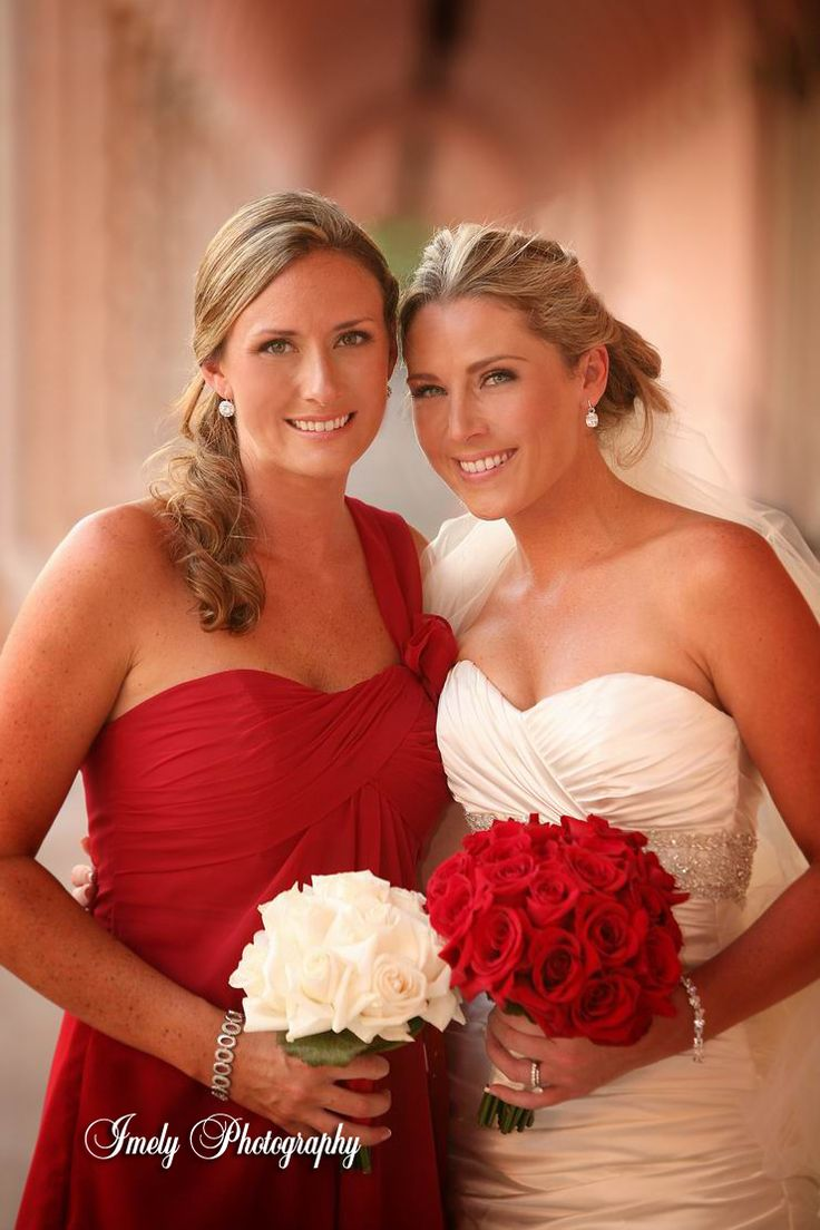 216 best elegant red wedding theme images on pinterest red cute idea for flowers i have red bridesmaids with white ombrellifo Gallery