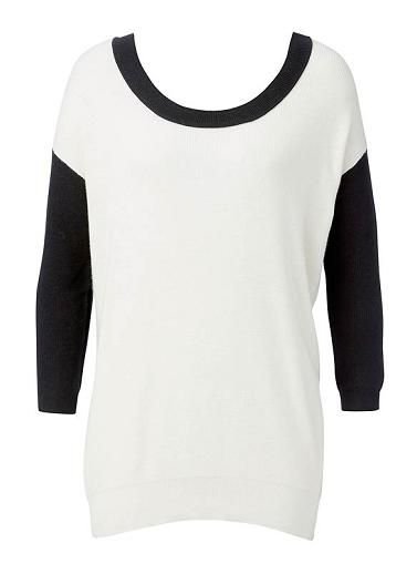 Cotton/Nylon/Silk blended sweater. Comfortable fit, features contrast Black sleeve and back body, drop shoulder and dipped hem. Available in Winter White as shown.