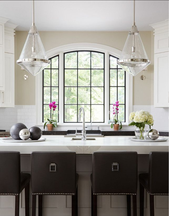 Kitchen Island. Kitchen Island Ideas. Transitional kitchen with large gray island and transitional pendant lighting. #Kitchen