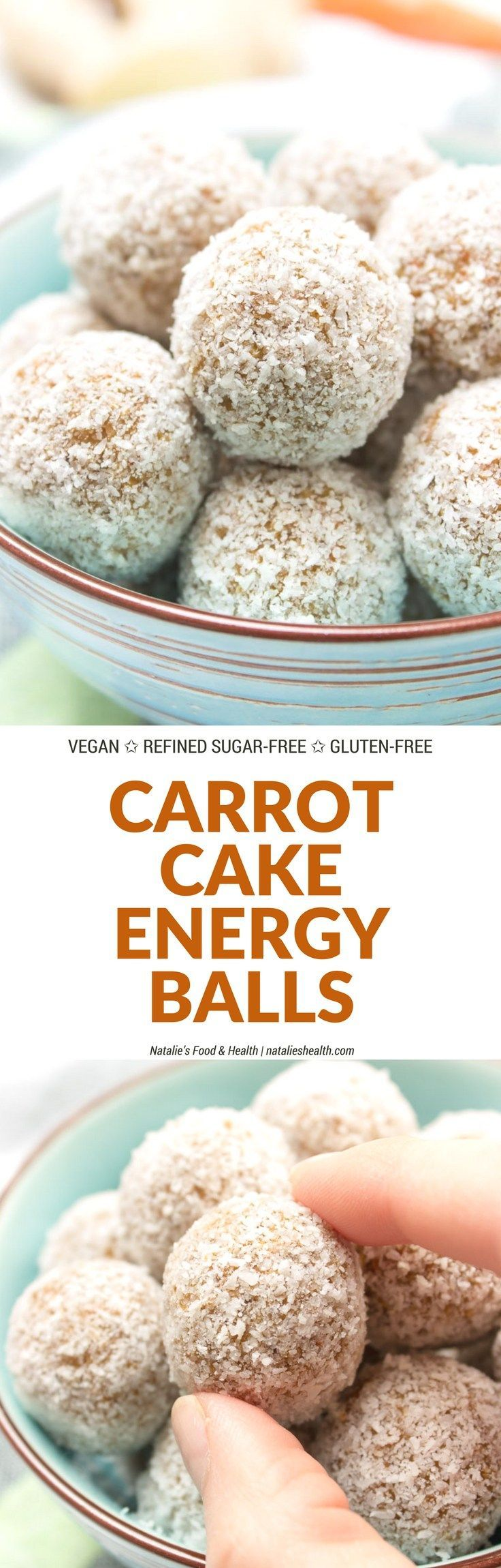 Raw no-bake Carrot Cake Energy Balls made with all HEALTHY ingredients. These yummy bites are refined sugar-free, gluten-free and vegan. Perfect snack, a post-workout snack or simple dessert. | natalieshealth.com | #vegan #glutenfree #sugarfree #Easter #h