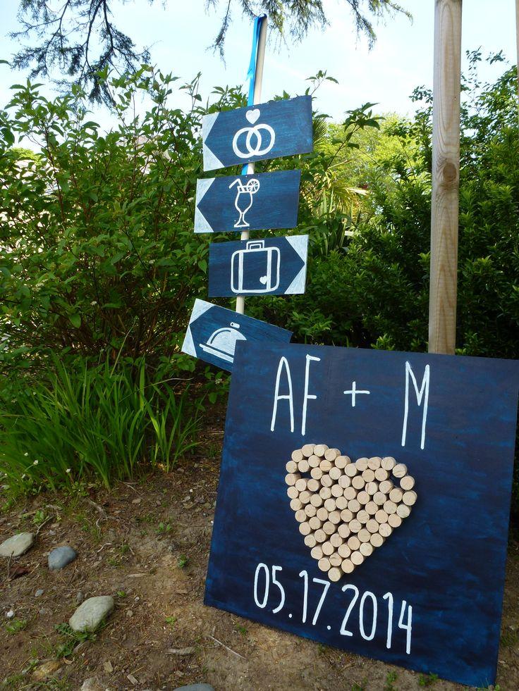 Panneau direction - mariage bleu et blanc