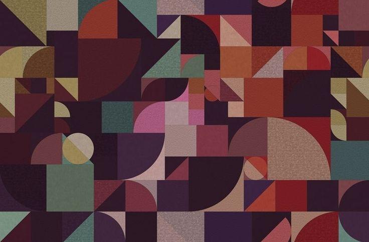Papier peint design / motif géométrique / pour extérieur / couleur ...