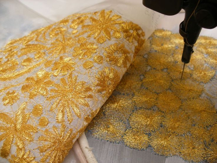 Gold embroidered lace