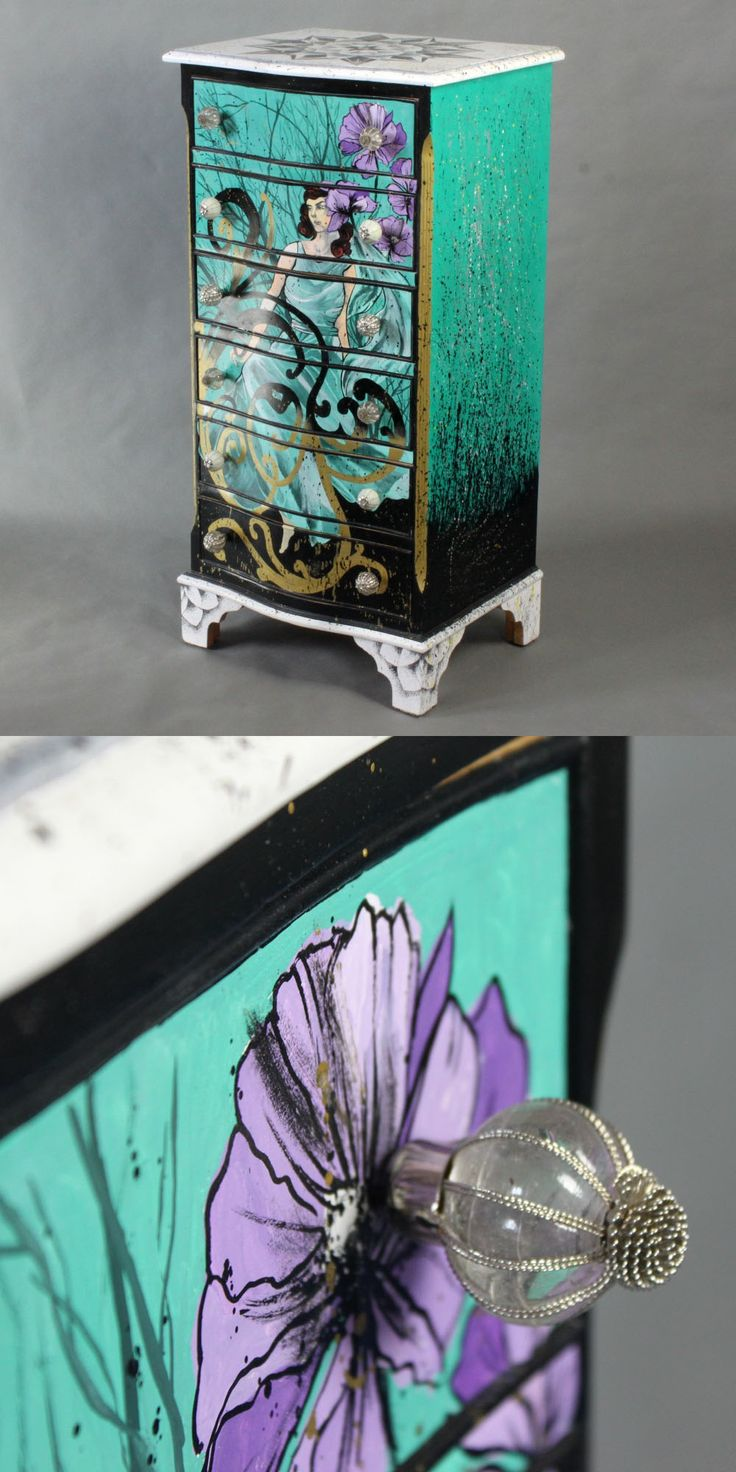Hand-painted chest of drawers Eolia