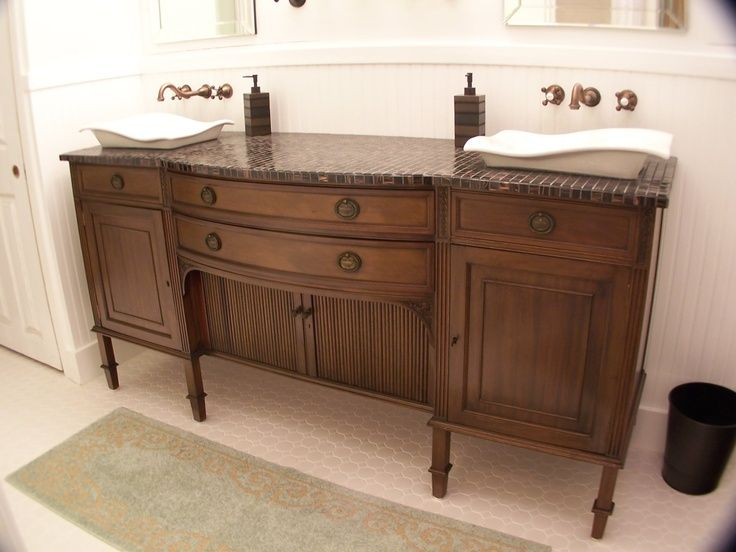 Astonishing White Sinks And Bronze Faucets On Classic Maple Bathroom  Cabinet Ideas With Tile Top