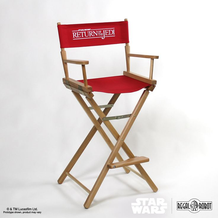 Looking to bring a little bit of that classic Hollywood flair to your living room, bedroom, office or home theater? Regal Robot is proud to bring you the officialStar Wars: Return of the Jedi™film logo directors chairs.  Available in three heights,each chair features sleek, straight-line legs with a paddlearm, finished in a low-VOC clear varnish for a natural wood look. The seat back of the chair features theReturn of the Jedifilm logo silk screened on to a heavy duty redcanvas…