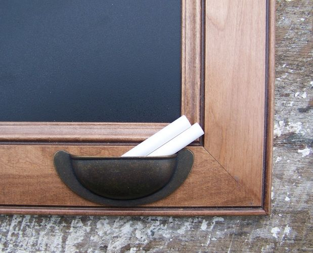 Upcycled cabinet door to chalkboard. love the hollder for the chalk