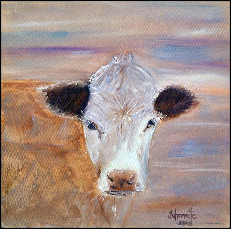 13Cow Oil Painting Stretched Canvas 300x300x40mm