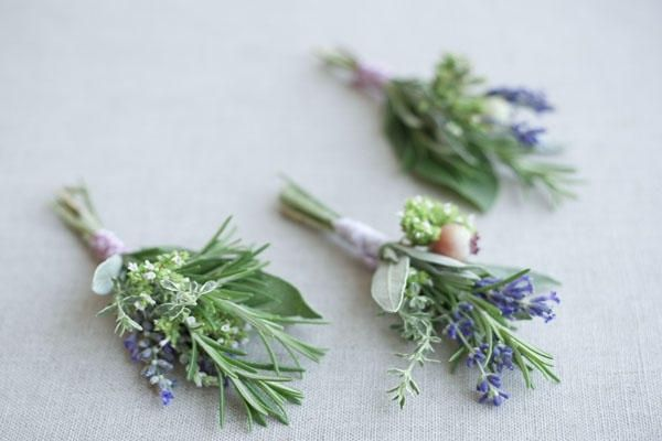 Lavender & Herb Boutonniere. I like the idea of using herbs like rosemary and bay, or olive tree branches.