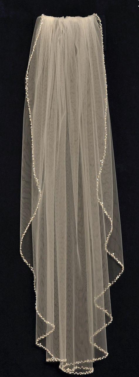 Glistening Pearl and Crystal Beaded Fingertip Length Wedding Veil -- Affordable Elegance Bridal -