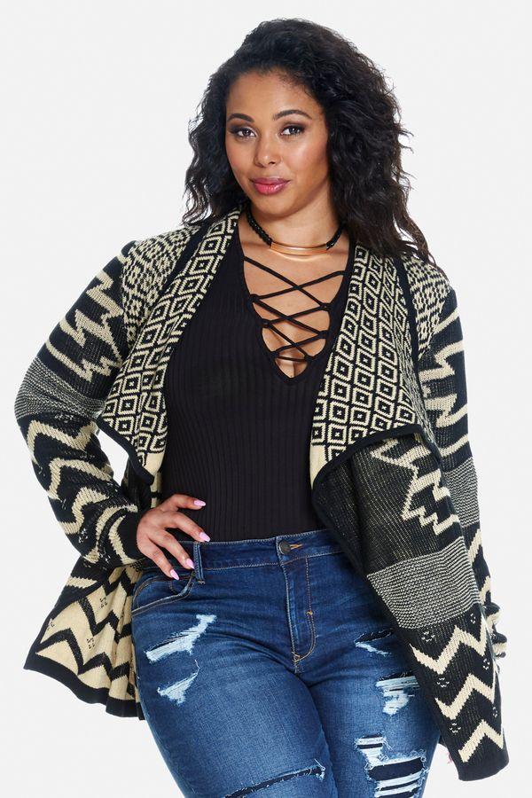 Plus Size Geometric Cascade Cardigan