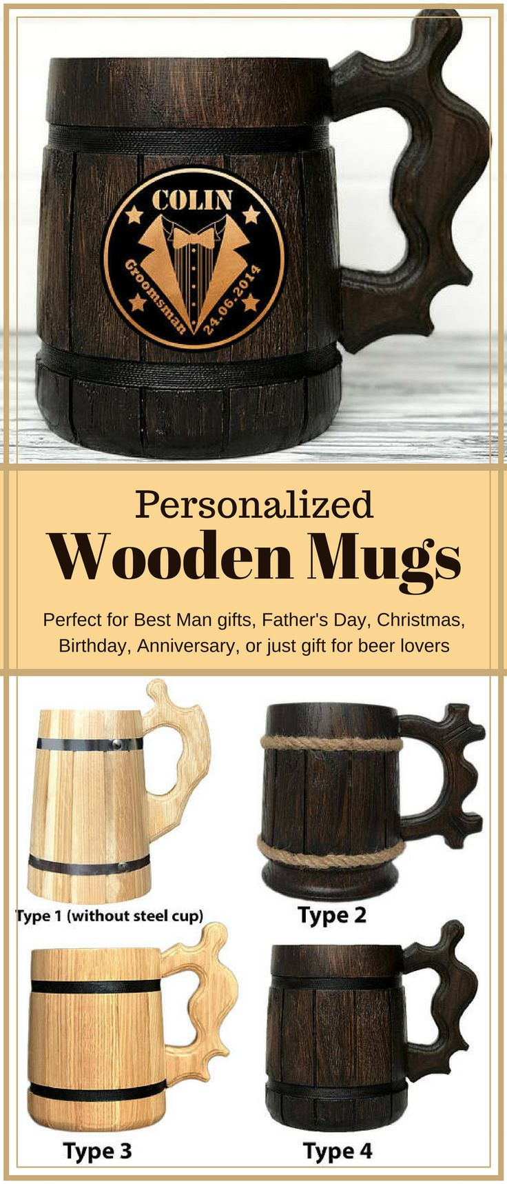 Personalized Wooden Mug can be an ideal gift, whatever the occasion! It is perfect for Father's Day, Christmas, Birthday, Anniversary, or just gift for beer lovers. It is stunning idea as a personalized gift for him! This Beer Tankard is great gift for the groom to the wedding, the groom's best man and stag party and etc. Groomsmen Mugs Engraved. Personalized Mug. Best Man Gifts. Groomsmen Gift. NNT #ad #etsy #mugs #giftidea #beer #groomsmen
