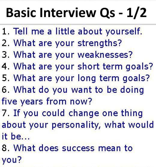Job Interview - Basic Interview Questions 1/2