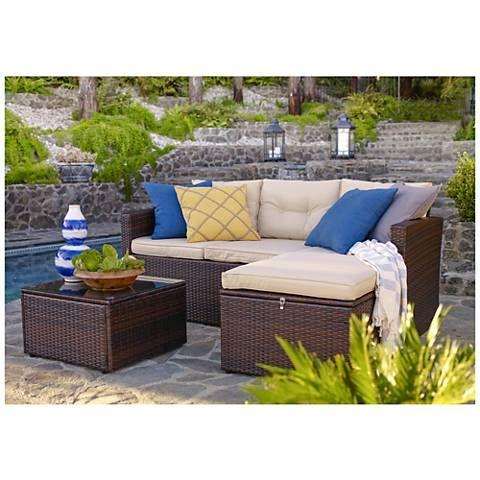 Cascaden Dark Brown Wicker 3 Piece Seating Sofa Set With Storage