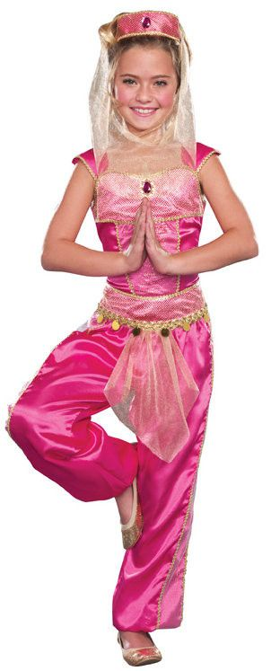 #9576 Become an enchanting princess in the Dream Genie Costume. The pink ensemble features gold trimming and sleeveless arms. The headdress comes with a see through veil and includes a gem. Add a geni